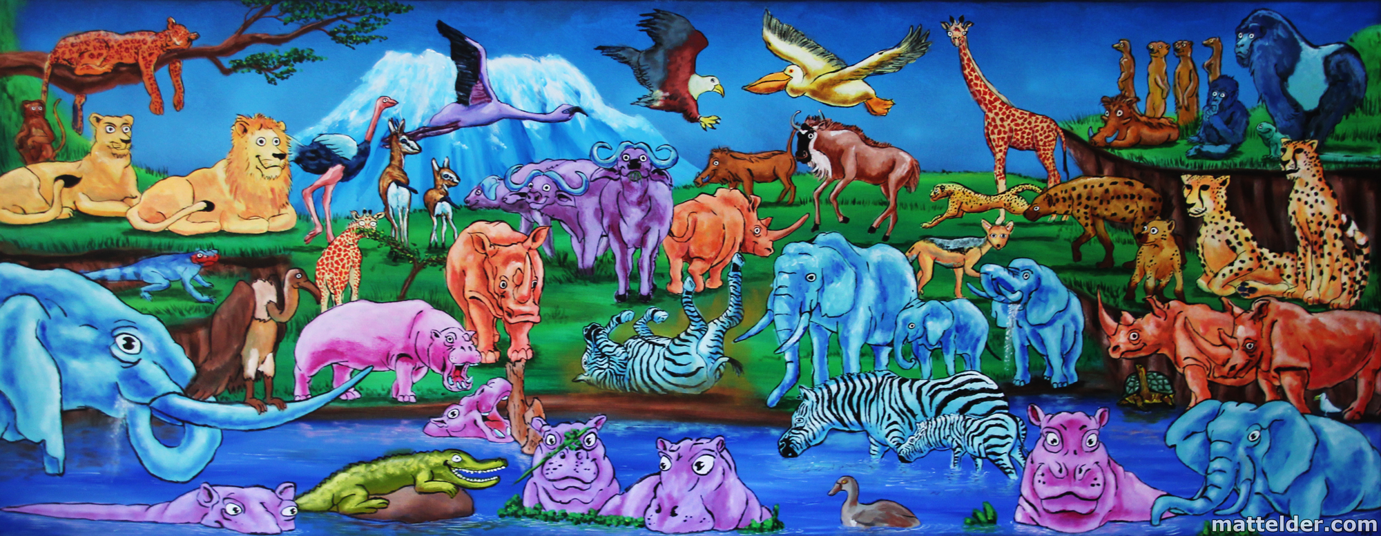 African animals nursery mural painting the art of matt for Art mural painting