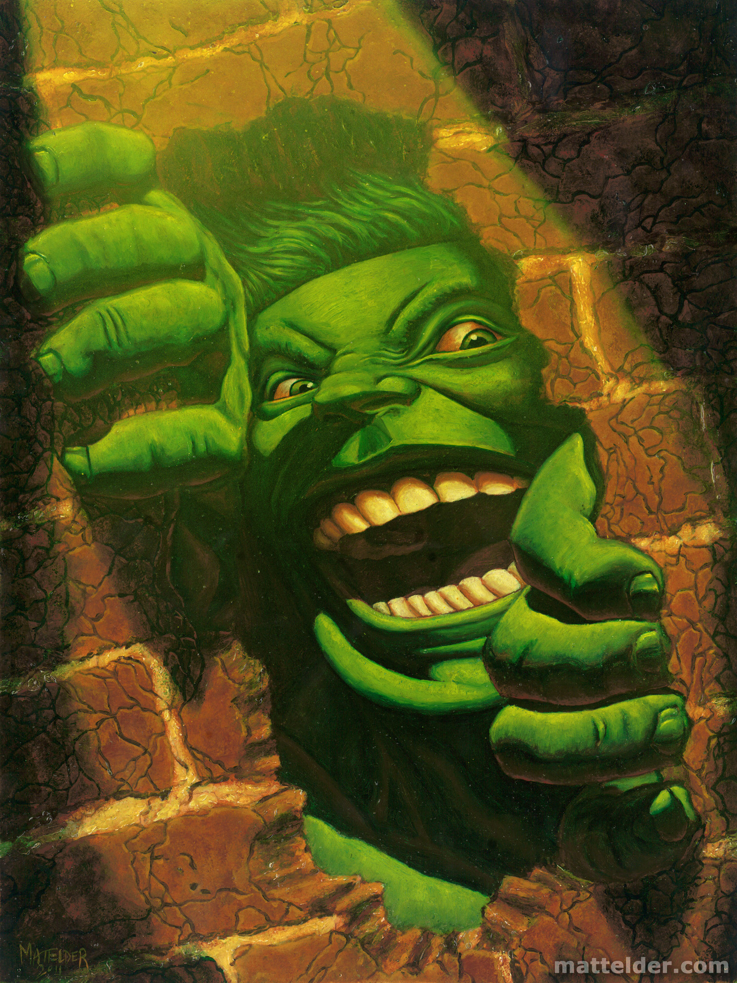 Hulk Smash Brick Wall Oil Portrait Painting