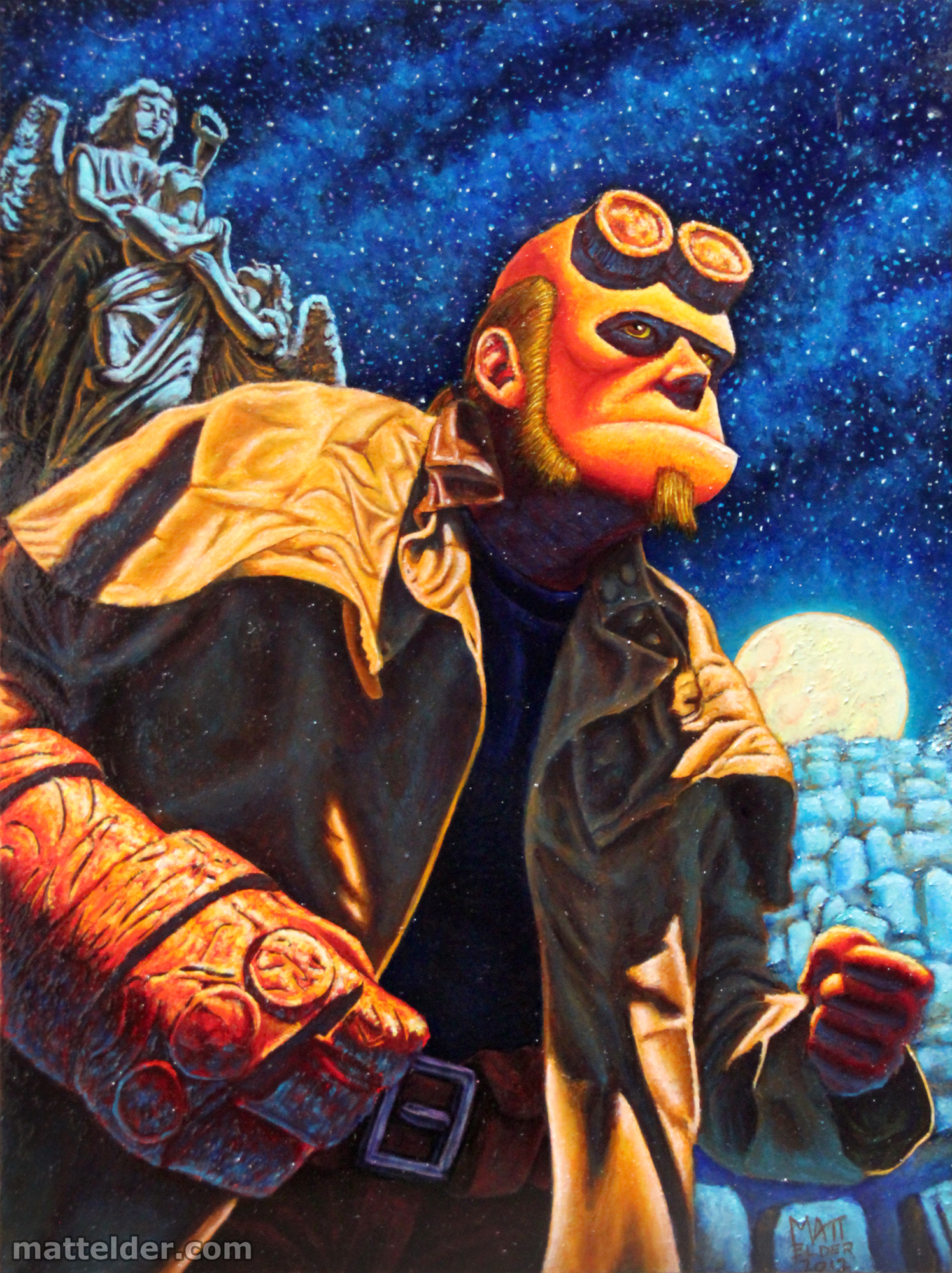 Hellboy at the Cemetary - Portrait Oil Painting