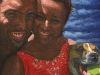 And So It Begins - Oil Portrait Painting Couple with a Staffy Dog 