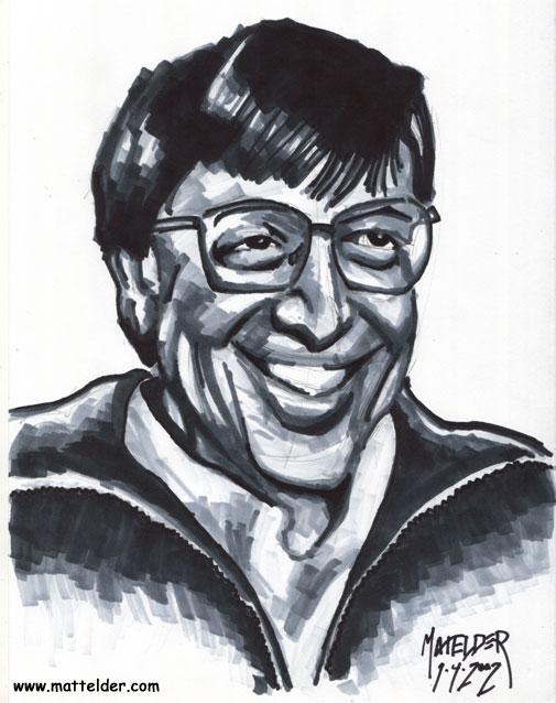 Bill Gates Old Portrait Caricature