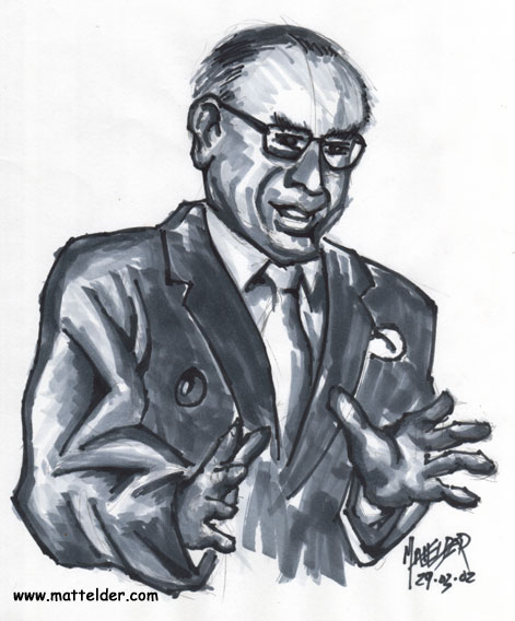 John Howard Talking with Hands Caricature