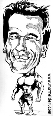 Arnold Schwarzenegger Muscle Man Caricature