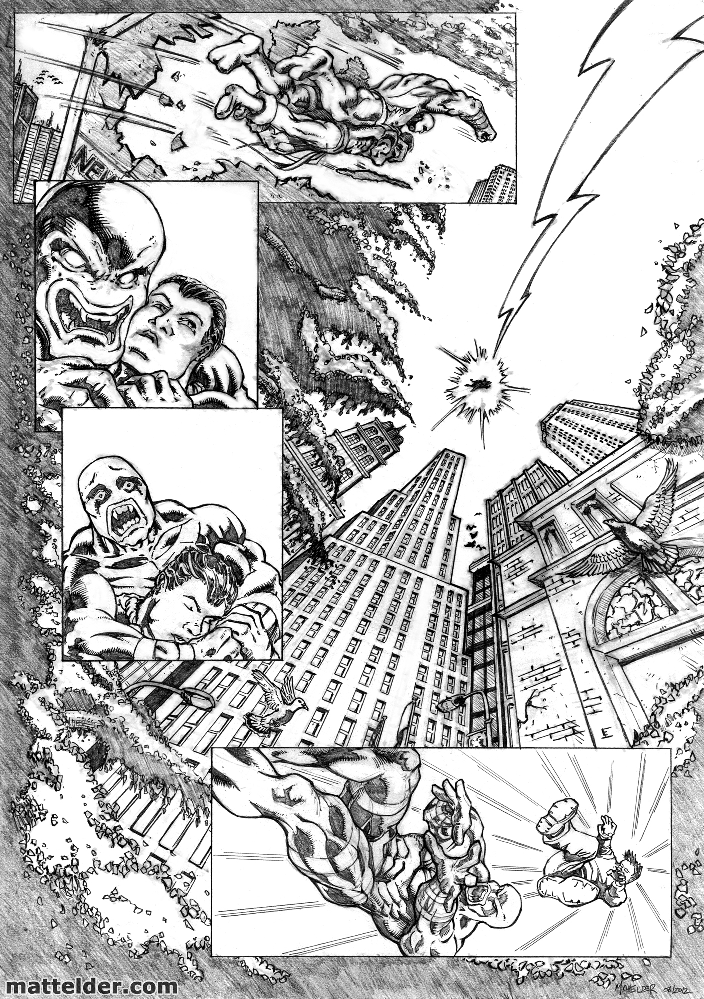 Shazam vs Parasite Pencils Sample Page