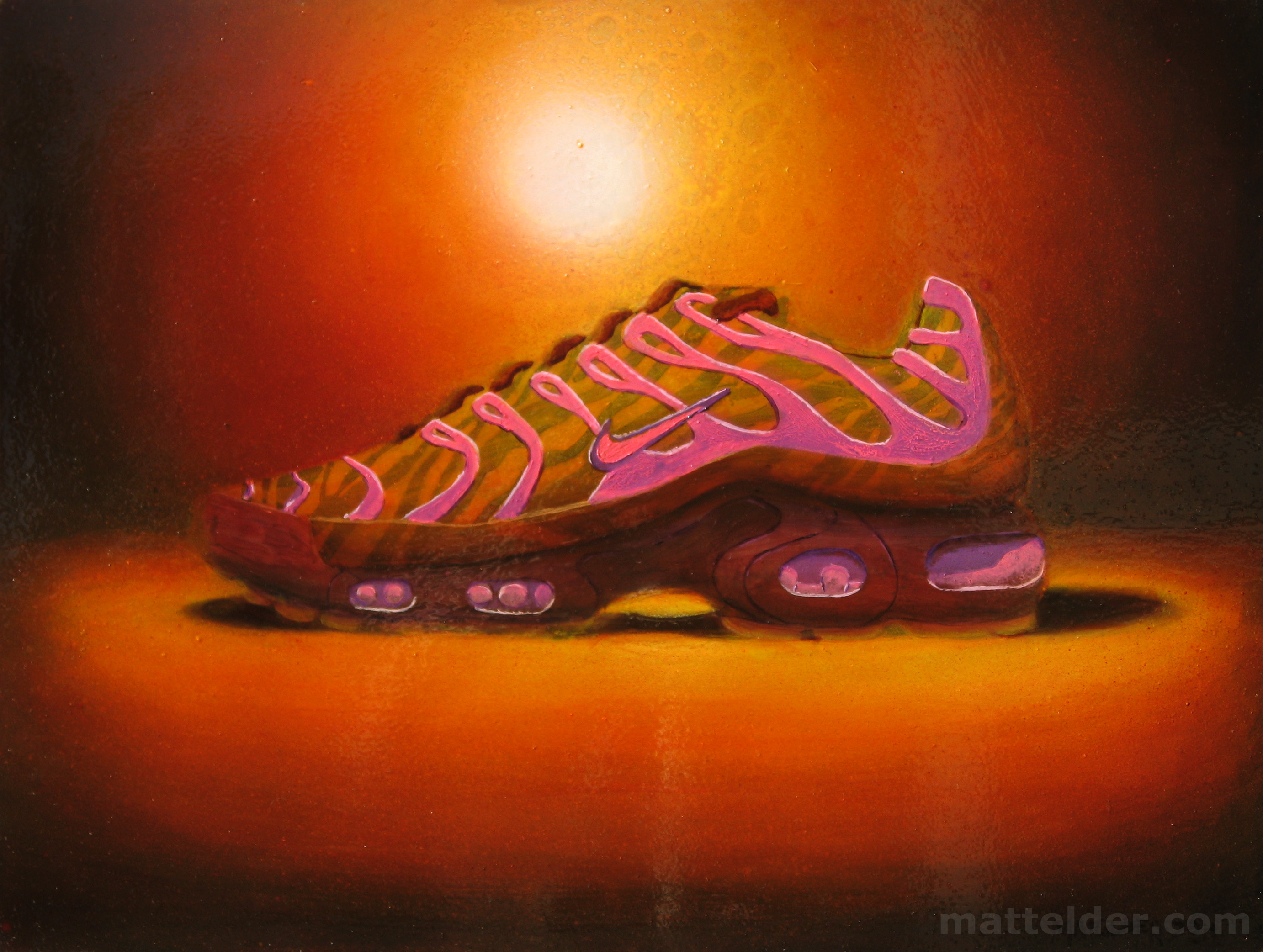 Running Against the Sun Shoe Still Life Oil Painting