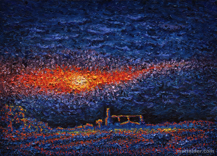 And The Son Will Set Another Day (aka Blue Landscape) - Landscape Oil Painting