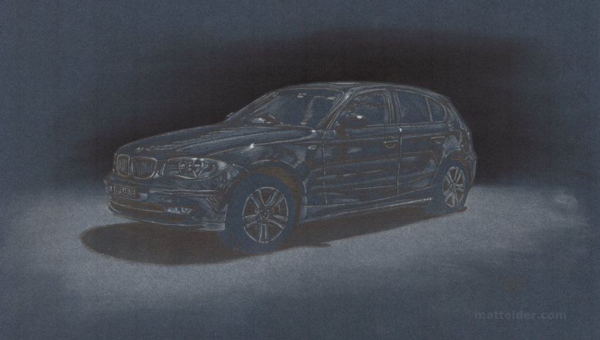 My First Toy - BMW 118i 1-Series Pencil Drawing