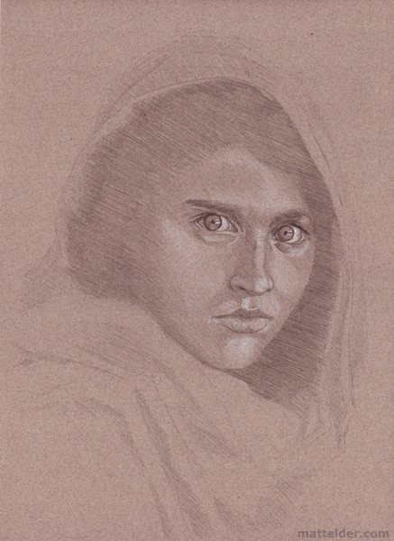 Afghani Woman Study Sketch - National Geographic June 1985