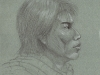 Oriental Portrait Profile Pencil Sketch