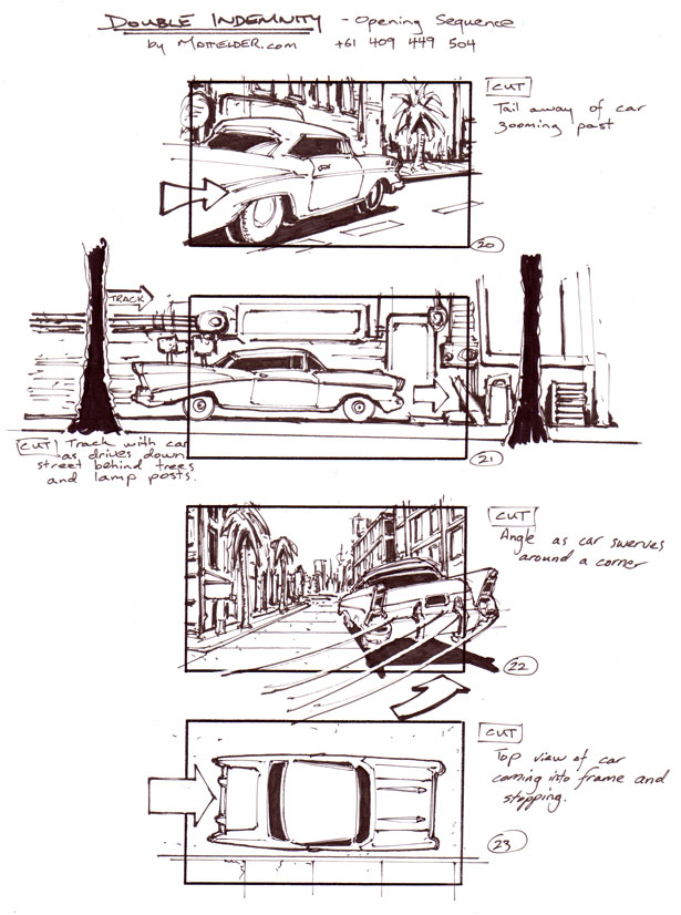 Double Indemnity Storyboards Opening 20 - 23