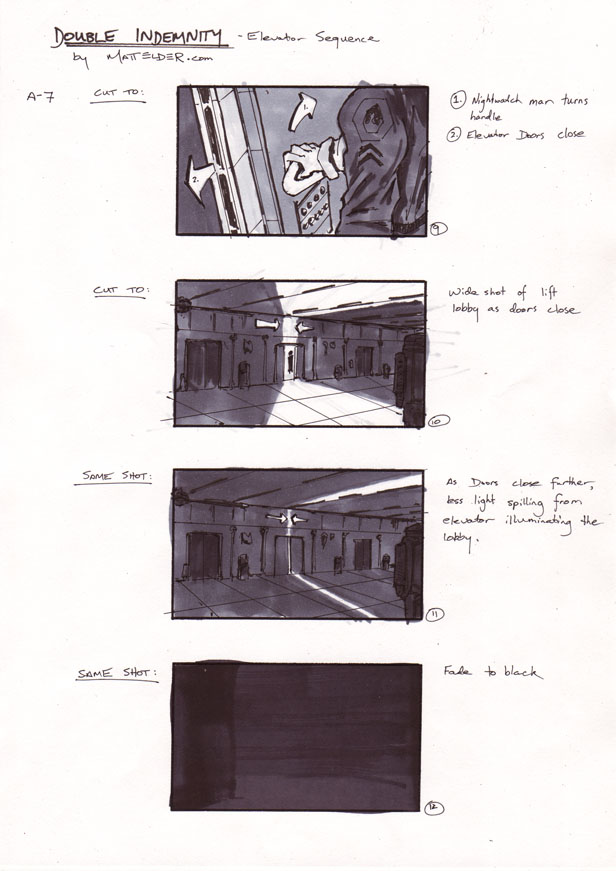 Double Indemnity Storyboards Elevator 09 - 12