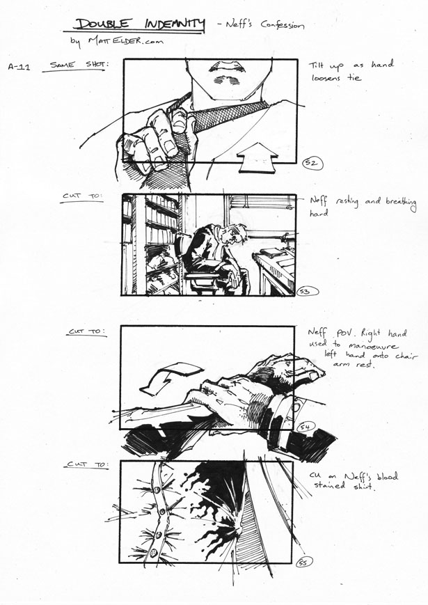Double Indemnity Storyboards Neff\'s Confession 52-55