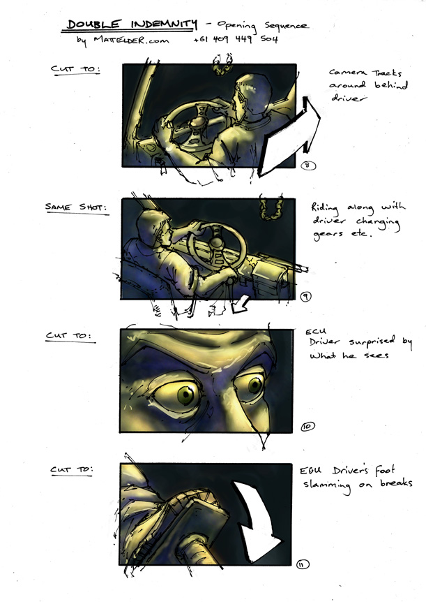 Double Indemnity Storyboards Opening 08 - 11
