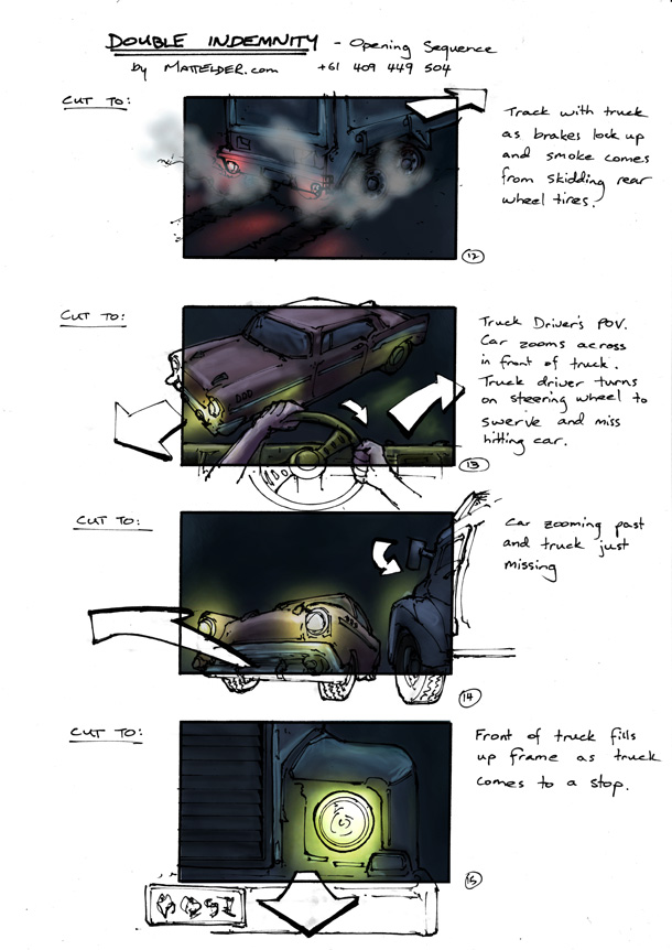 Double Indemnity Storyboards Opening 12 - 15