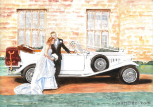Wedding Couple Car Leeds Castle - Wedding Painting