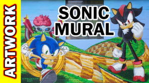 Video Thumbnail - Watercolor 000315 - Sonic the Hedgehog Mural 01c Acrylic Time Lapse Tube Art